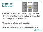 retention of declarations