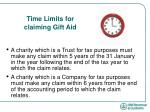 time limits for claiming gift aid