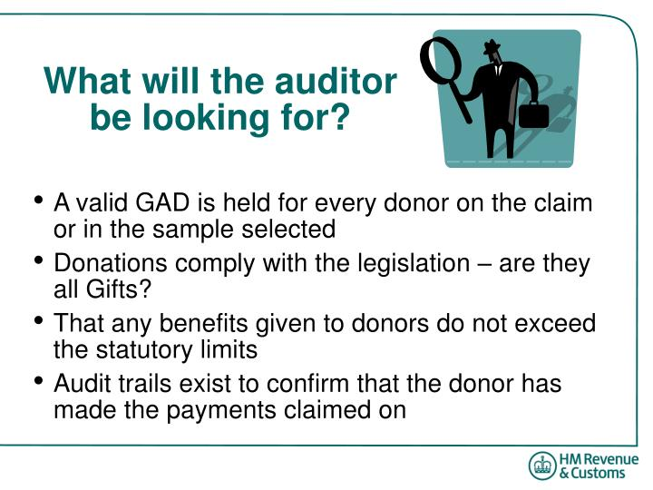 What will the auditor be looking for?