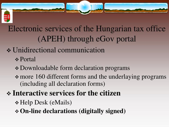 Electronic services of the Hungarian tax office (APEH)