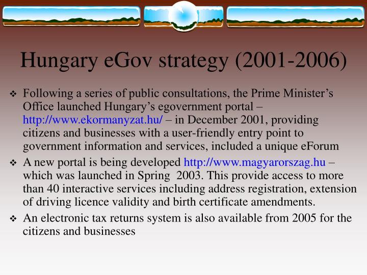 Hungary eGov strategy (2001-2006)
