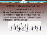 p2p for virtual and or ad hoc communities