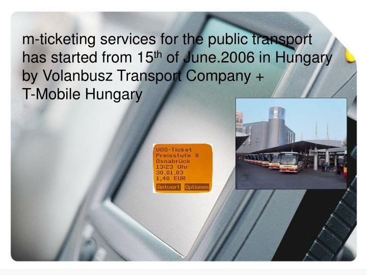 m-ticketing services for the public transport