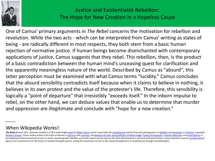 Justice and Existentialist Rebellion: