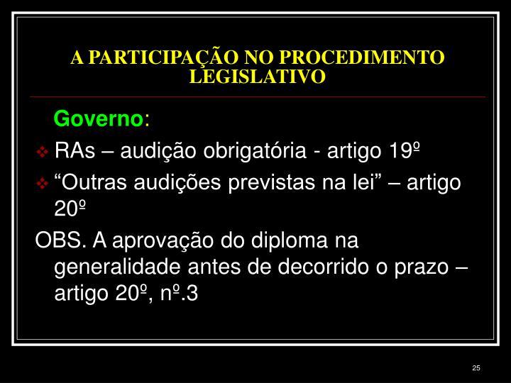 A PARTICIPAÇÃO NO PROCEDIMENTO LEGISLATIVO
