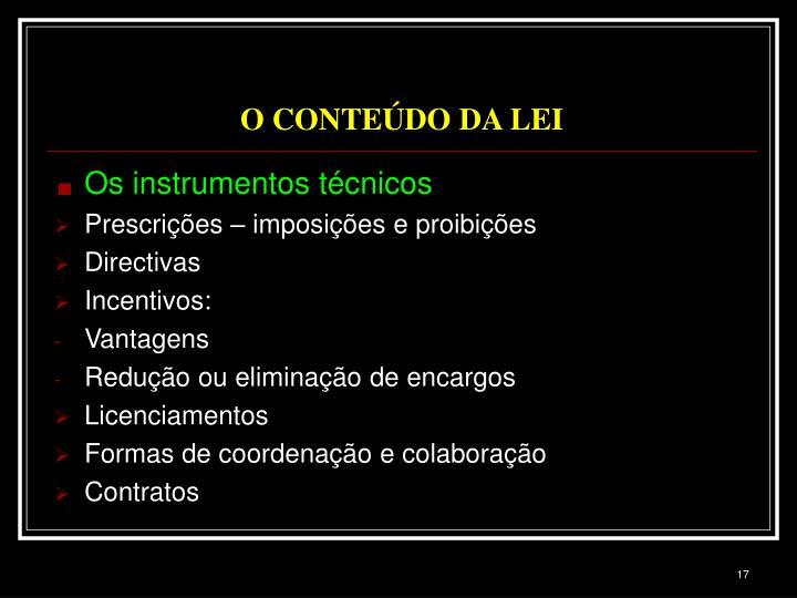 O CONTEÚDO DA LEI