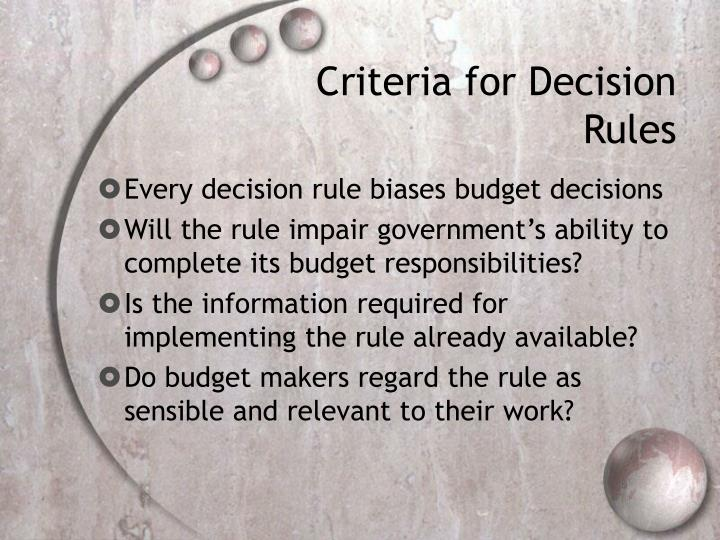 Criteria for Decision Rules