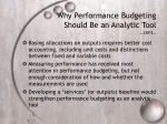 why performance budgeting should be an analytic tool cont1
