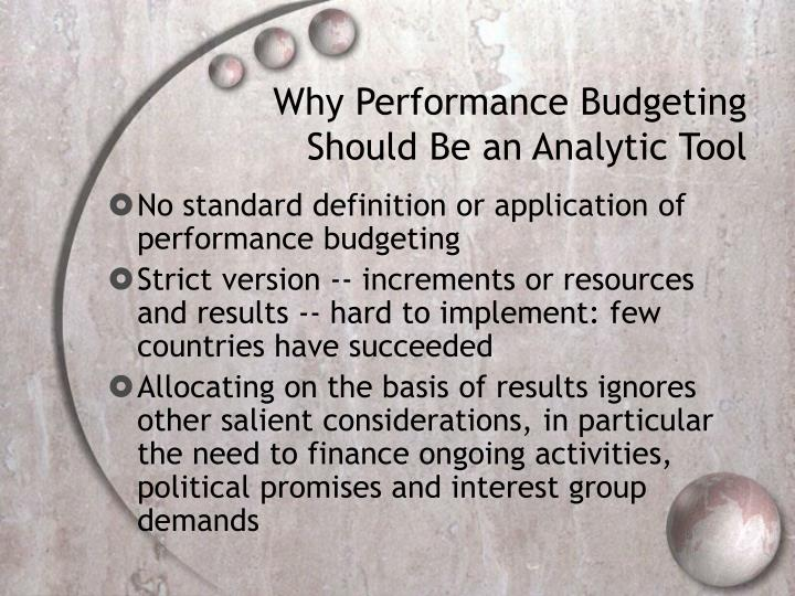Why Performance Budgeting Should Be an Analytic Tool