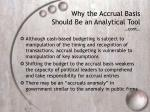 why the accrual basis should be an analytical tool cont