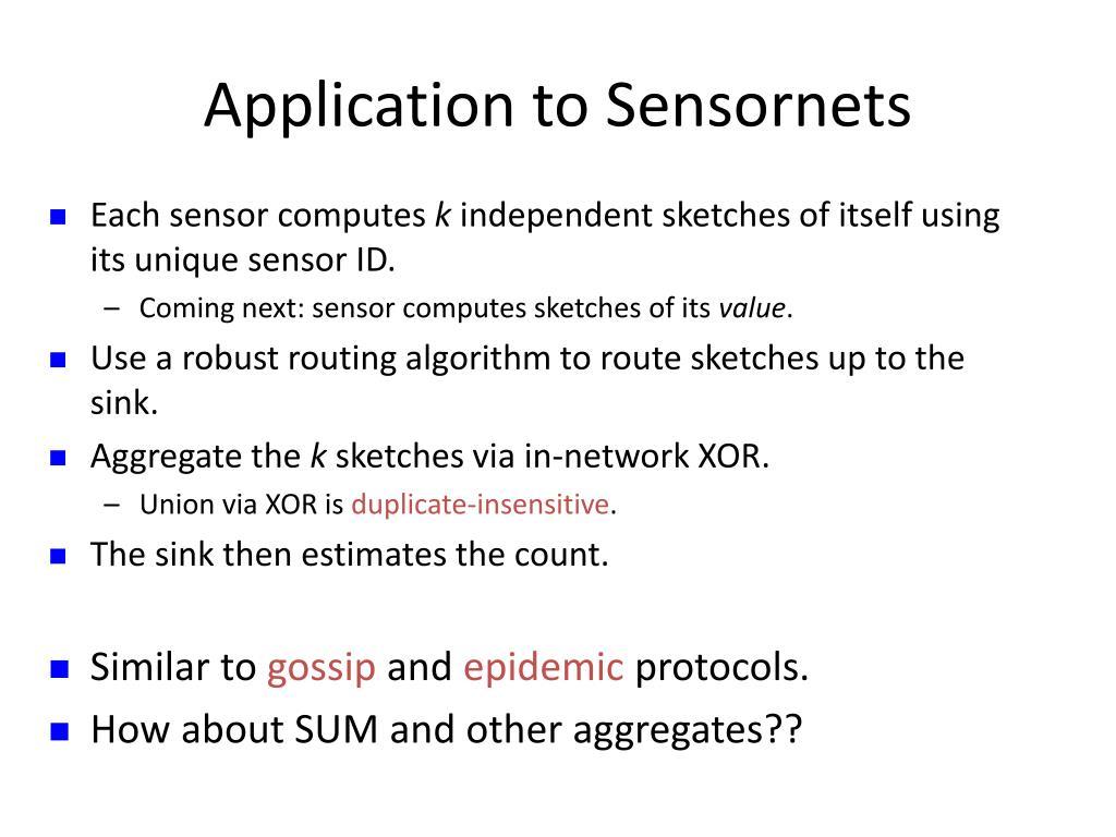 Application to Sensornets