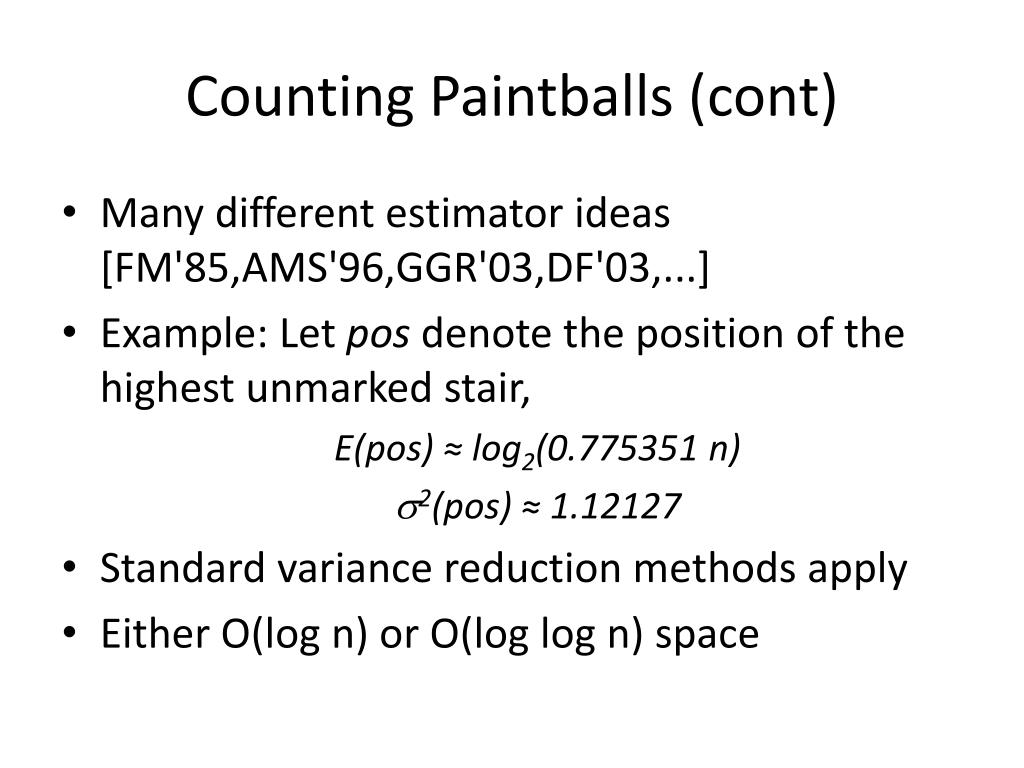 Counting Paintballs (cont)