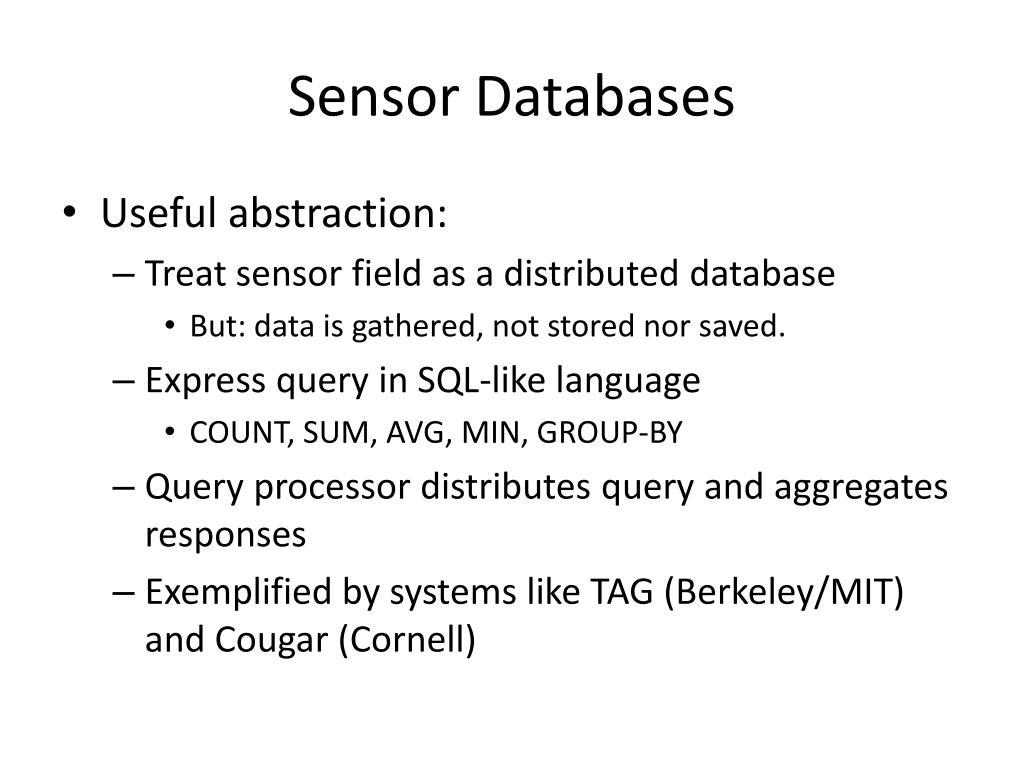 Sensor Databases