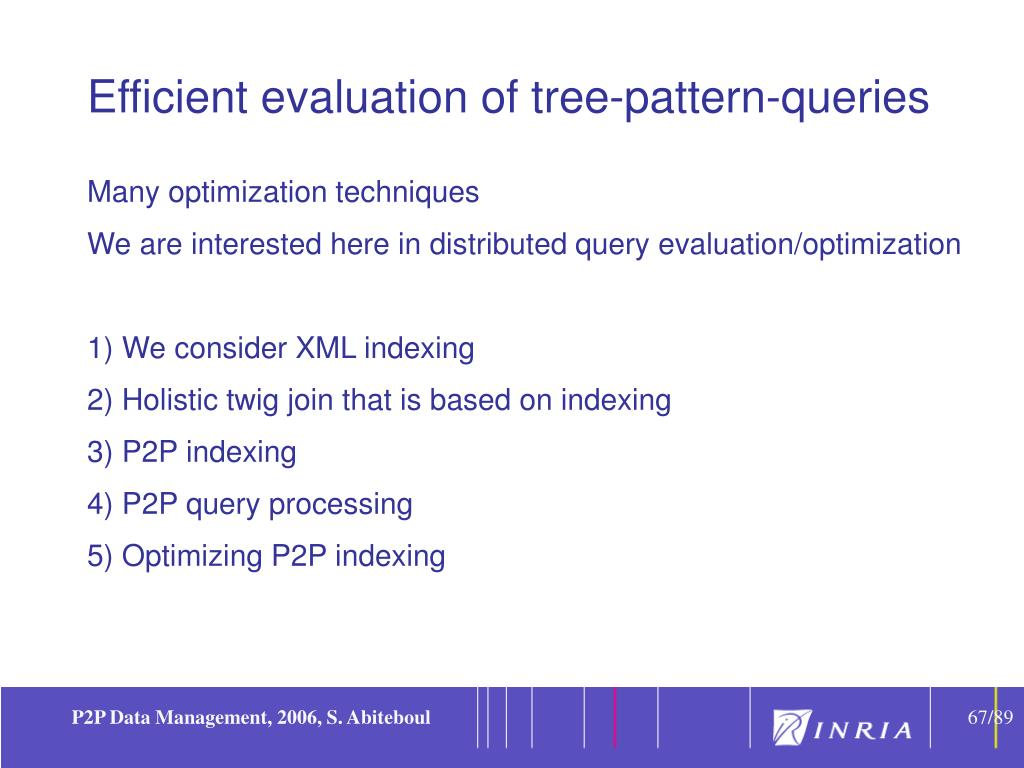 Efficient evaluation of tree-pattern-queries