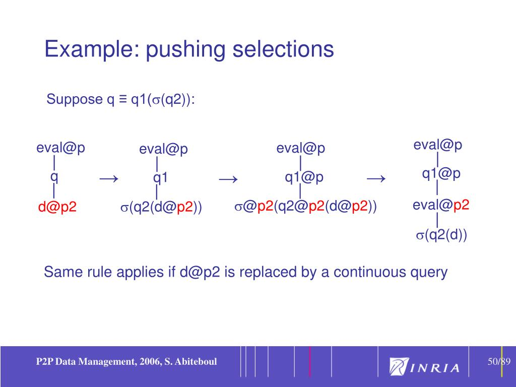 Example: pushing selections