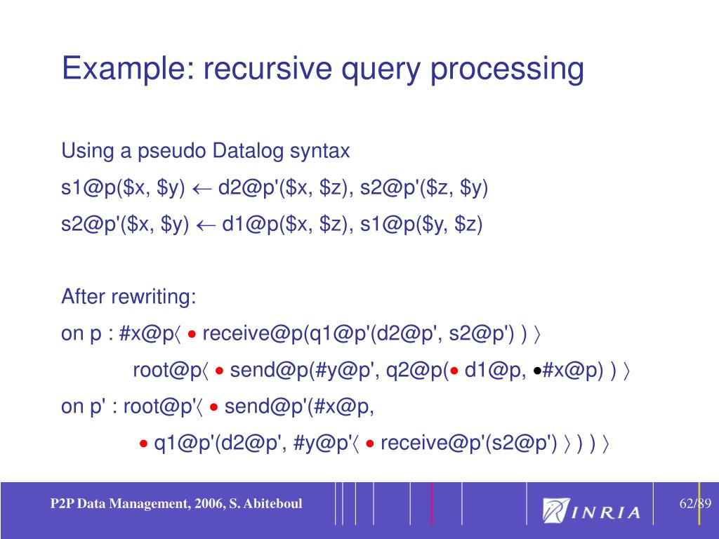 Example: recursive query processing