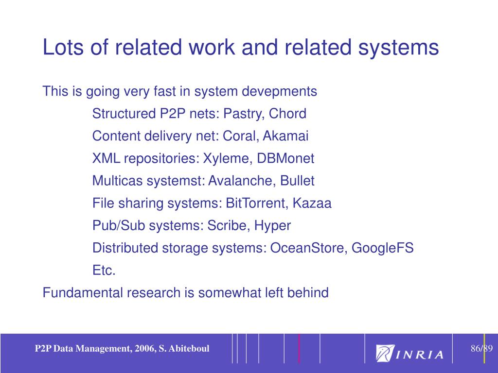 Lots of related work and related systems