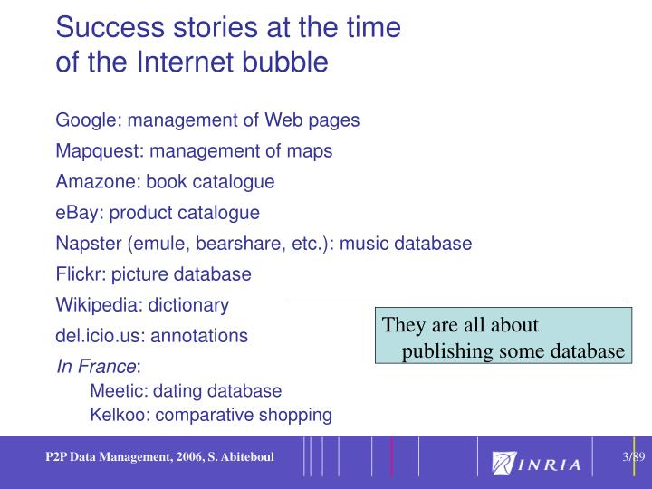 Success stories at the time of the internet bubble