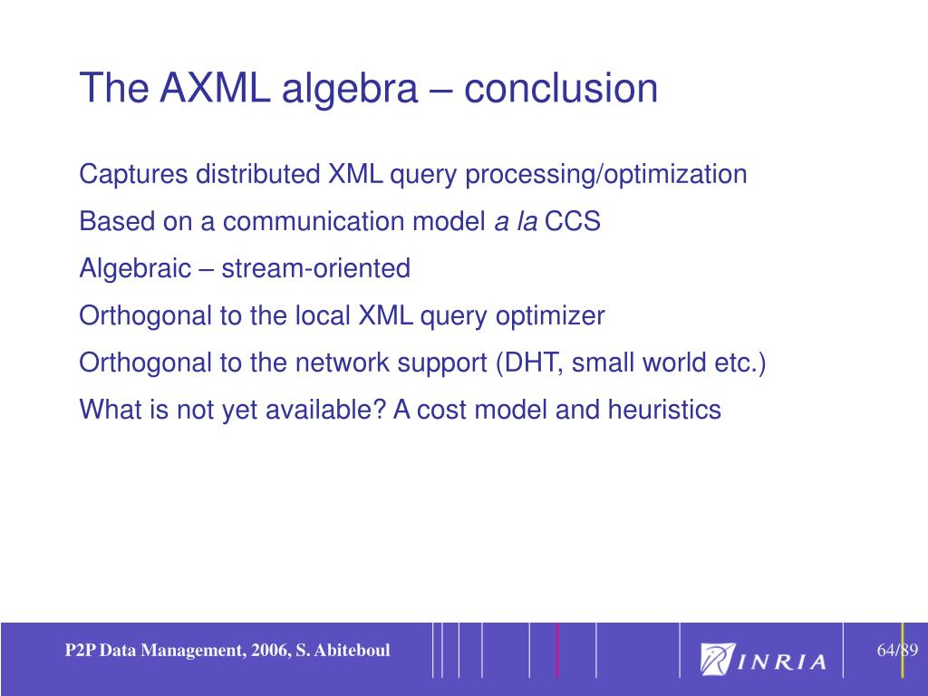The AXML algebra – conclusion