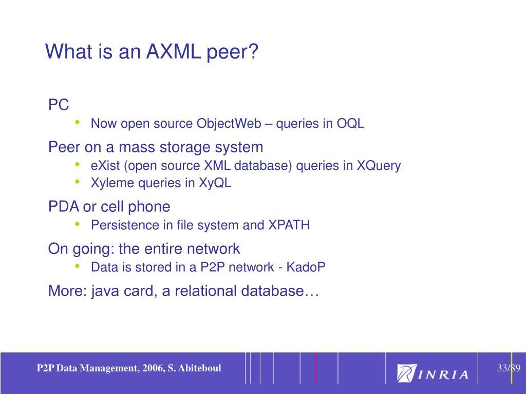 What is an AXML peer?