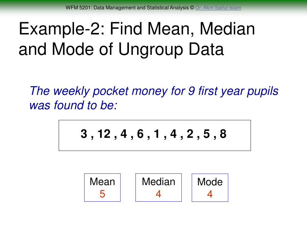 Example-2: Find Mean, Median and Mode of Ungroup Data