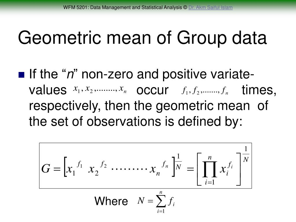 Geometric mean of Group data