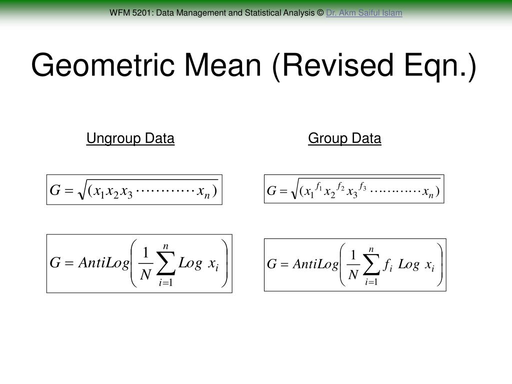 Geometric Mean (Revised Eqn.)