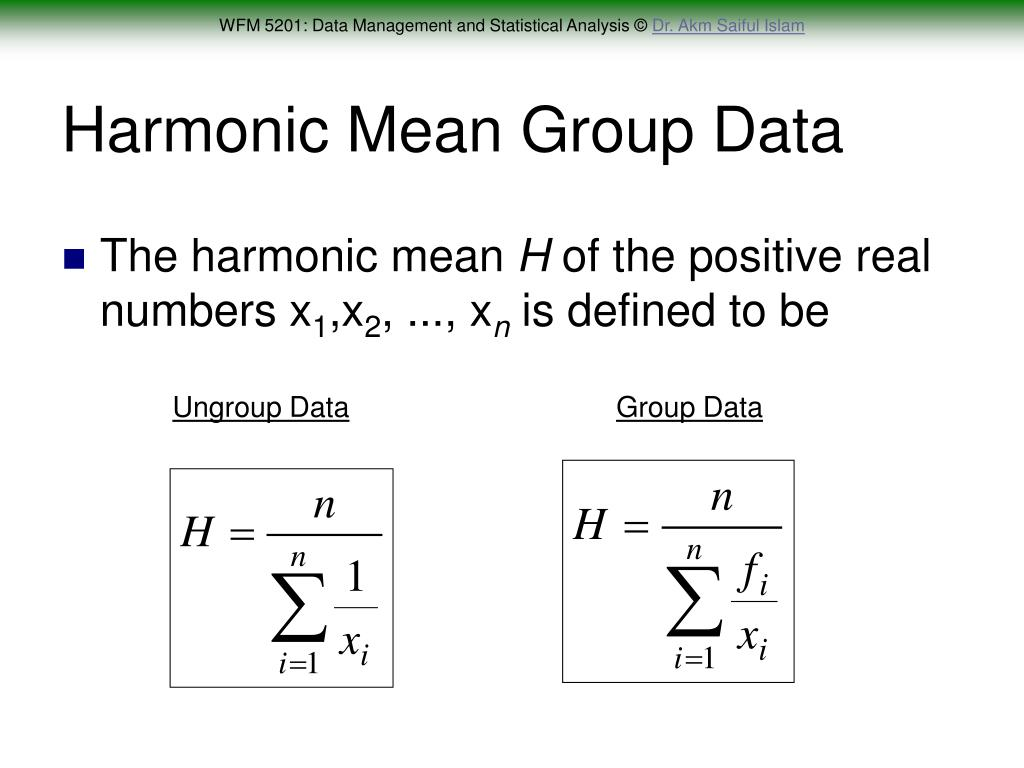 Harmonic Mean Group Data