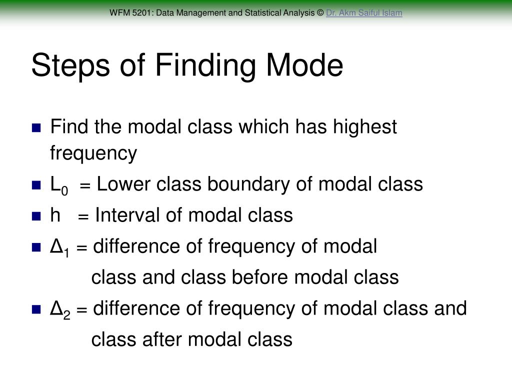 Steps of Finding Mode