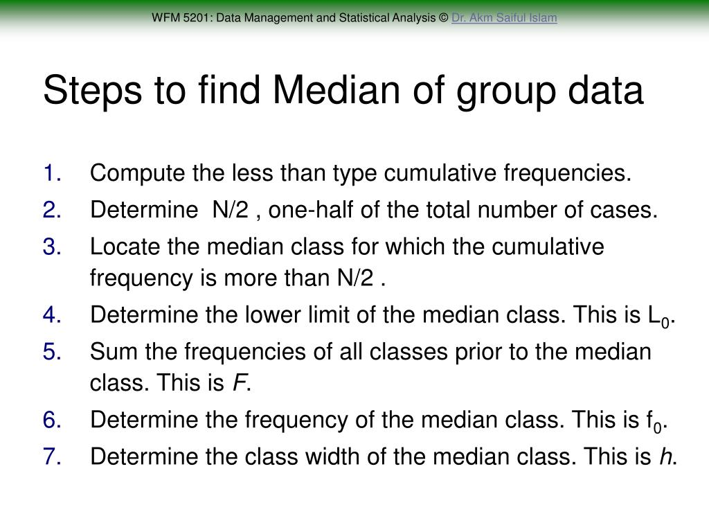 Steps to find Median of group data