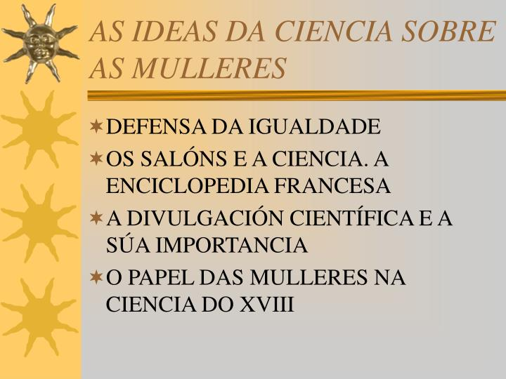 AS IDEAS DA CIENCIA SOBRE AS MULLERES