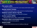 types of data management