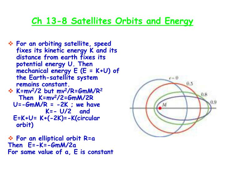 Ch 13-8 Satellites Orbits and Energy