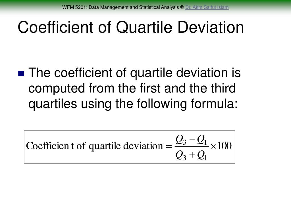 Coefficient of Quartile Deviation