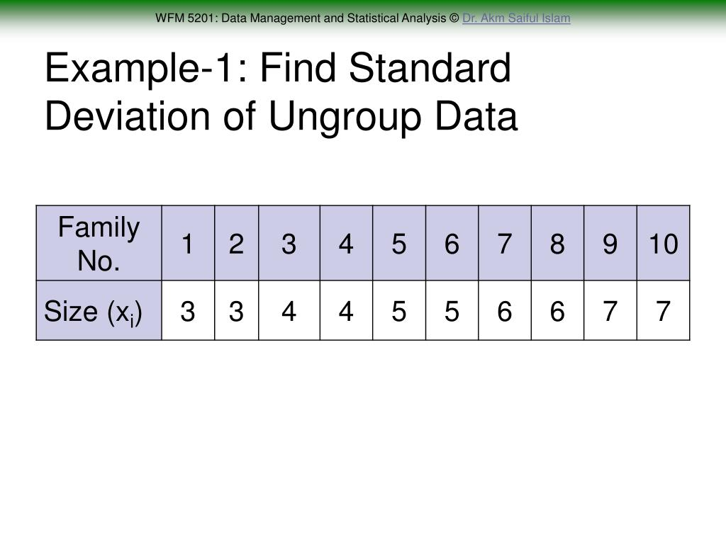Example-1: Find Standard Deviation of Ungroup Data