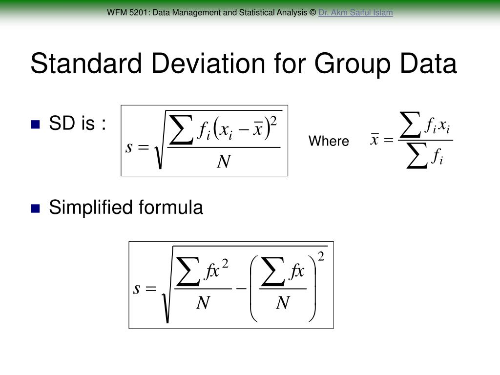 Standard Deviation for Group Data