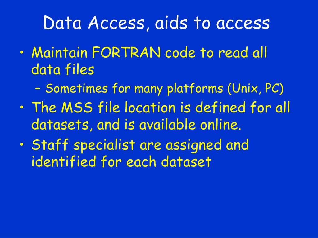 Data Access, aids to access