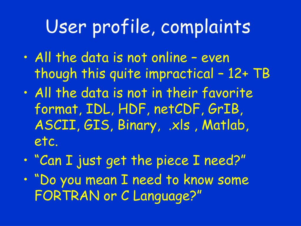 User profile, complaints