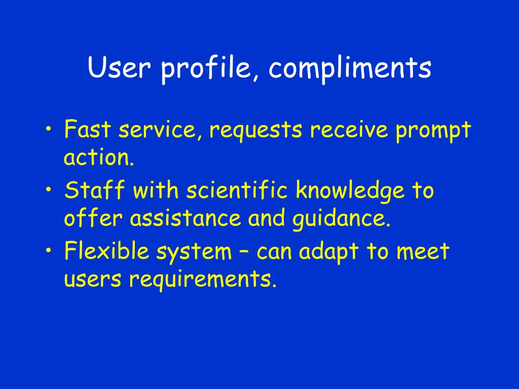 User profile, compliments