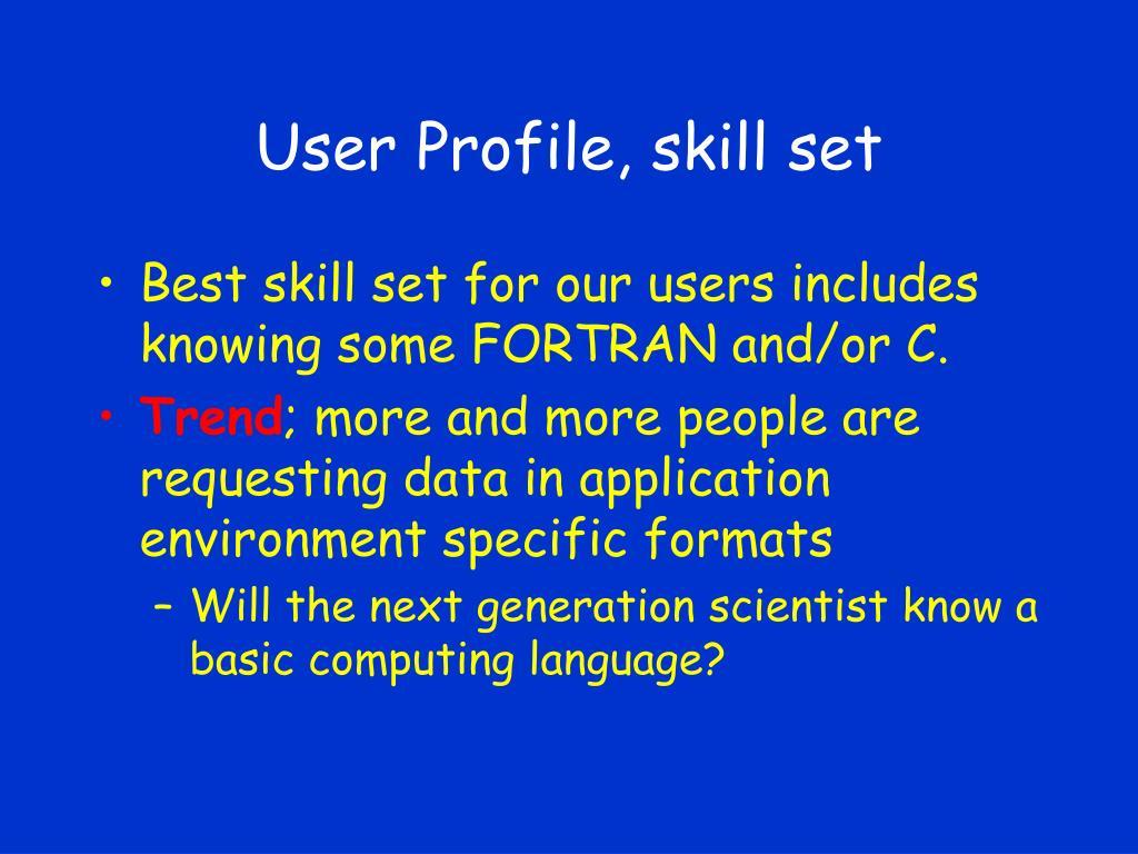 User Profile, skill set