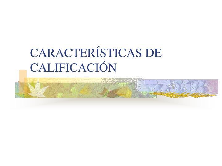 CARACTERÍSTICAS DE CALIFICACIÓN