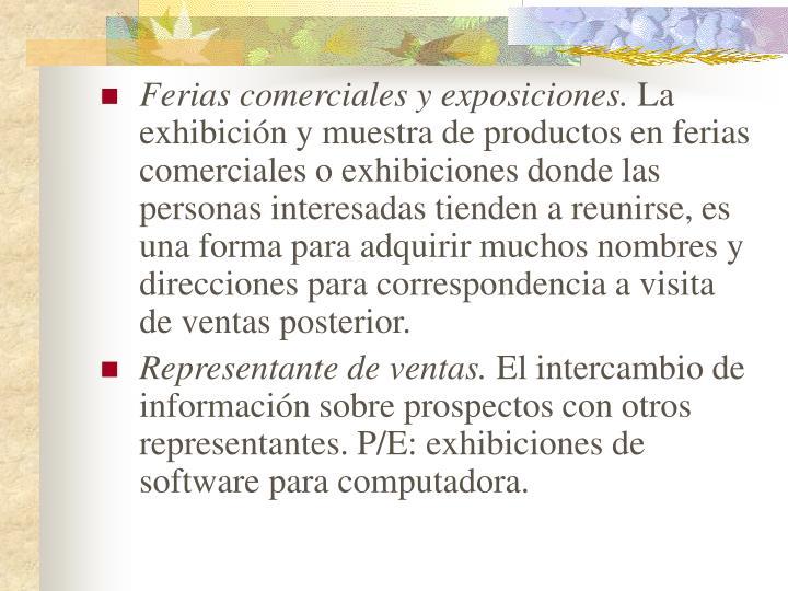 Ferias comerciales y exposiciones.