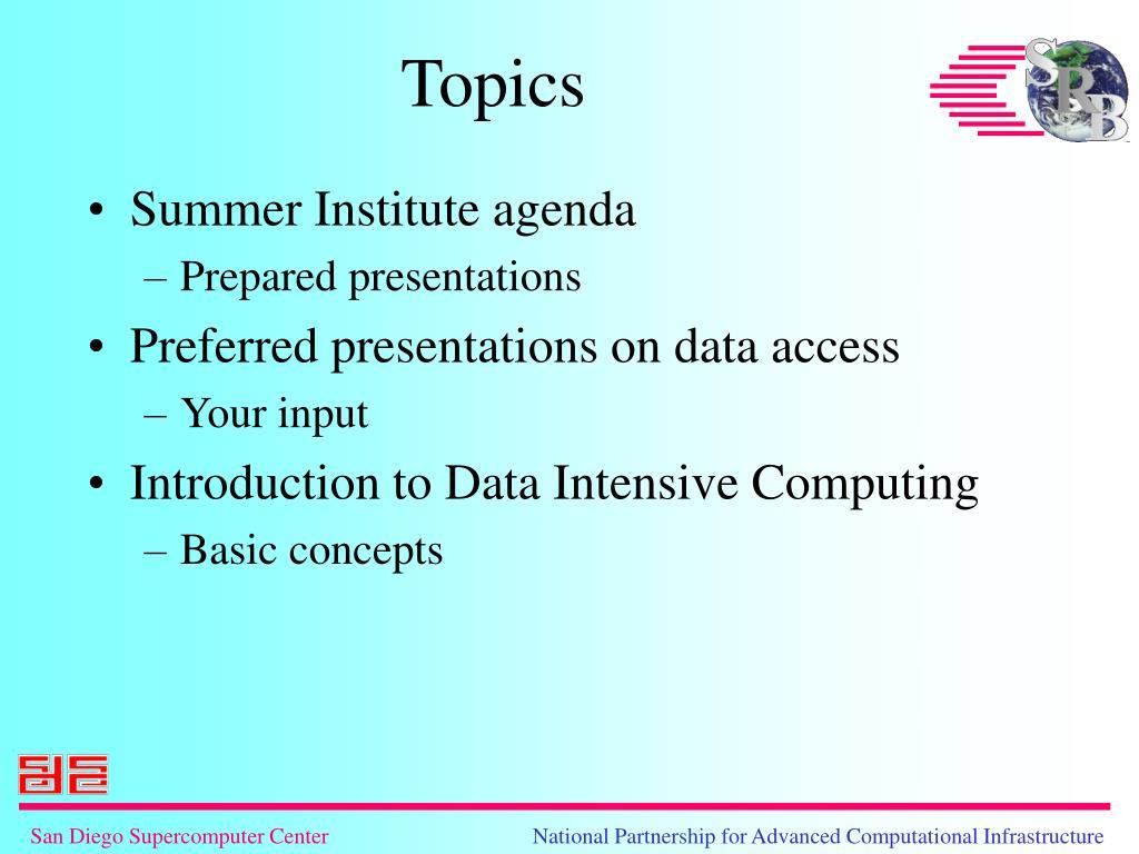 Summer Institute agenda