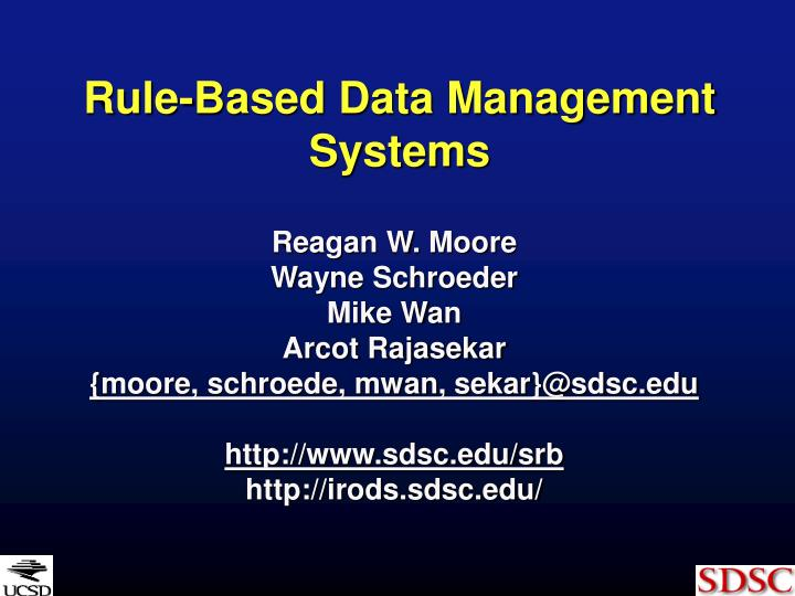 Rule based data management systems