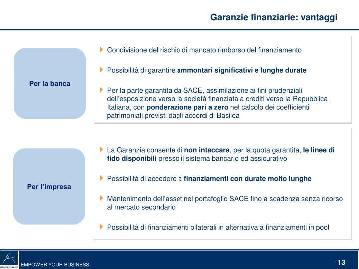 Garanzie finanziarie: vantaggi