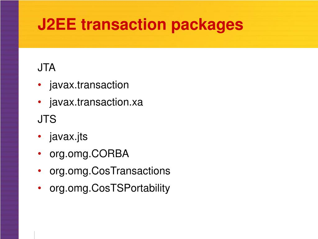 J2EE transaction packages