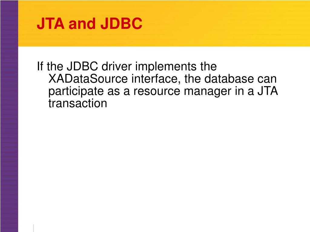 JTA and JDBC