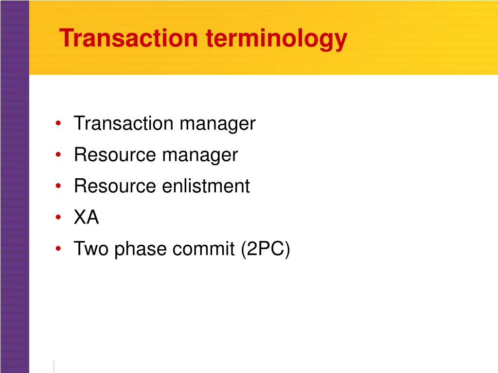 Transaction terminology