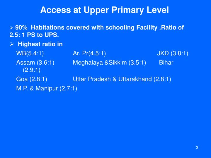 Access at upper primary level