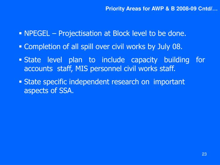 Priority Areas for AWP & B 2008-09 Cntd/…